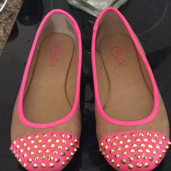Candie's Shoes - Candies Pink Slip On Flats, Pink and Tan Color